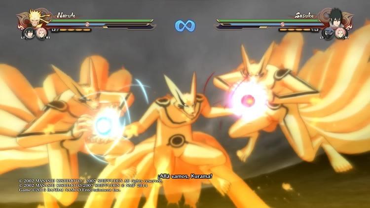 Kurama luchando con Naruto en Naruto shippuden ultimate ninja storm 4