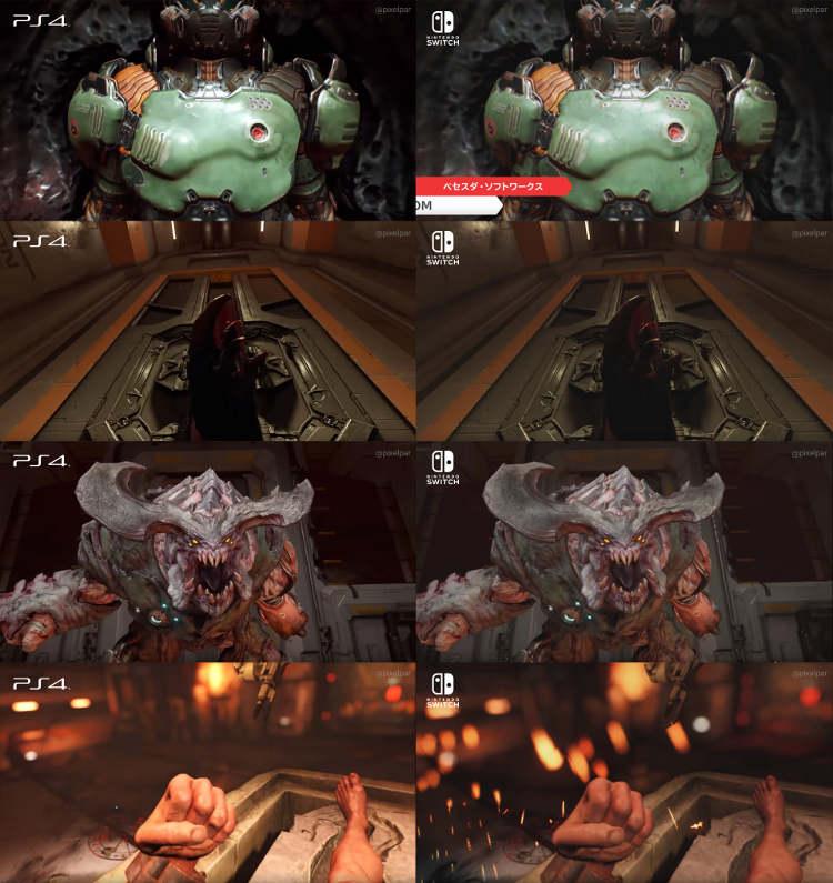 Échale un ojo a esta comparativa gráfica de DOOM entre Nintendo Switch y PlayStation 4