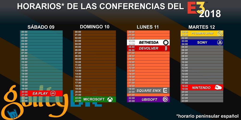 horarios de las conferencias del E3 2018
