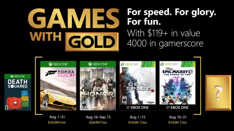 juegos de Gold de agosto 2018