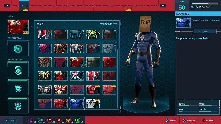 trajes de los 4 fantásticos para Spider-Man