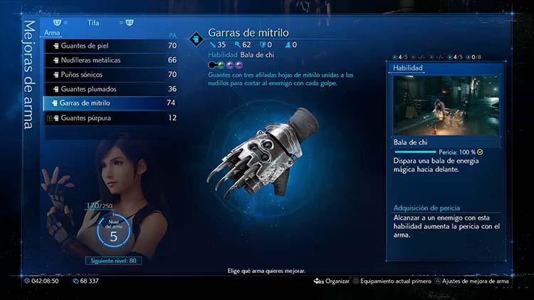 todas las armas de Tifa en Final Fantasy VII Remake