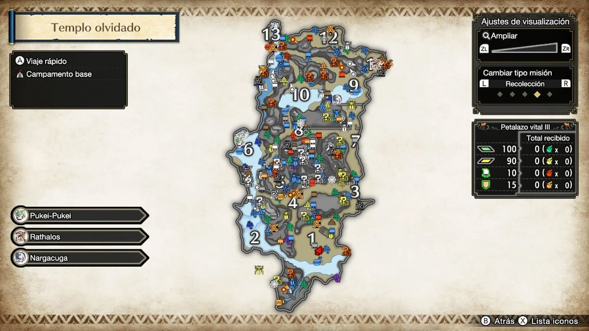 puntos de recolección en el mapa en Monster Hunter Rise portada