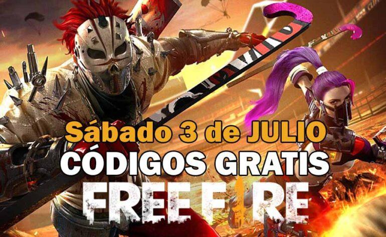 Códigos Free Fire gratis disponibles del 3 de julio de 2021
